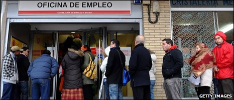 Unemployed workers at an employment office in Spain