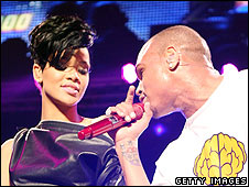 Rihanna and Chris Brown performing together in New York