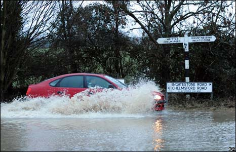 Flooding in Blackmore village, Essex