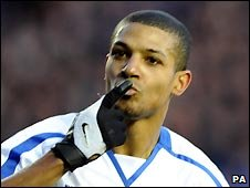 Jermaine Beckford celebrates scoring a goal for Leeds