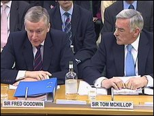 Sir Fred Goodwin and Sir Tom McKillop at the Treasury Committee session