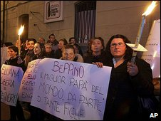 Right-to-die activists hold banners in support of Beppino Englaro