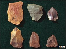 Stone tools from Gorham's Cave, Gibraltar (Natural History Museum)