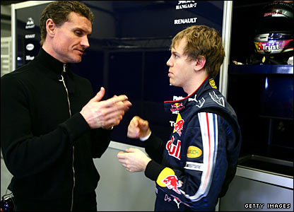 David Coulthard (left) and Sebastian Vettel