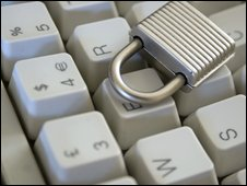 Padlock on computer keyboard
