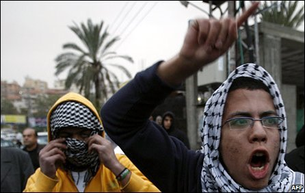 Arab Israelis demonstrating