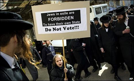 Demonstration by members of the anti-Zionist ultra-Orthodox Neturei Karta group