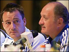 Chelsea captain John Terry (left) and former manager Luiz Felipe Scolari
