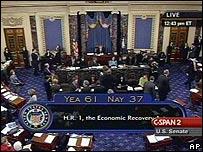 Votación del plan de estímulo económico en el Senado de EE.UU., 10 de febrero, 2009
