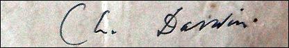 Firma de Charles Darwin