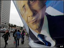 A poster of Benjamin Netanyahu in a Tel Aviv street