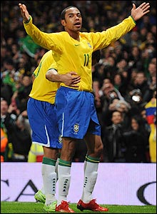 Robinho soaks up the applause and adulation after his goal for Brazil against Italy