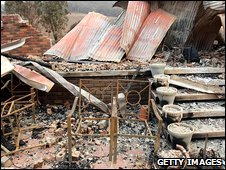 Ruins of a fire-hit home in Mudgeegonga, Victoria, Australia, 10 February 2009