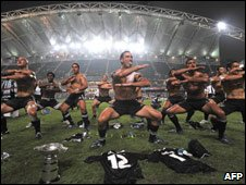 NZ rugby team, winning Rugby Sevens in Hong Kong March 2008, perform Haka