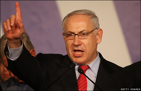 Likud party leader Benjamin Netanyahu at his election campaign headquarters - 10/2/2009