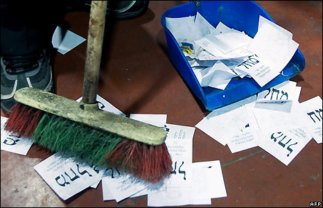 A cleaner sweeps up papers - 11/2/2009
