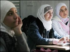 Muslim girls in class at the Future School, Picture by Angela Catlin