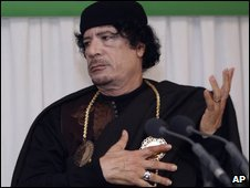 Libyan leader Col Muammar Gaddafi in Tripoli, Libya, on 10 February 2009
