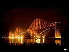 Forth brdige lit up at night