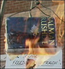 Burning copy of The Satanic Verses