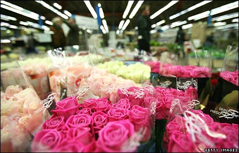 Flowers on sale at New Covent Garden Market in London