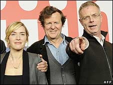 Sir David Hare with Kate Winslet (l) and Stephen Daldry (r)