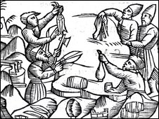 woodcut of people bartering by Olaus Magnus
