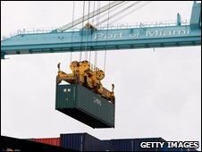 Container being unloaded from a ship in Miami