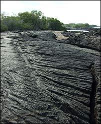 Lava petrificada en Galápagos.