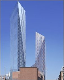 Artist's impression of the Lumiere Towers in Leeds