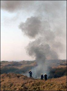 Firefighters at crash scene