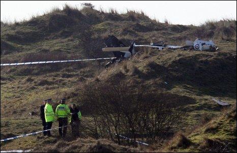 Plane wreckage at crash site