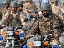 Pakistani paramilitary soldiers on patrol  in Karachi