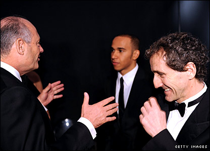 (left to right) McLaren boss Ron Dennis, driver Lewis Hamilton, Alain Prost