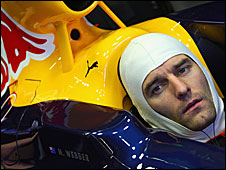 Mark Webber drives the new Red Bull