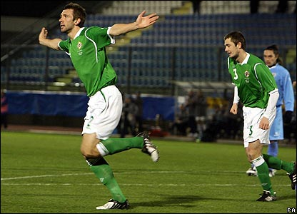 Gareth McAuley celebrates putting Northern Ireland ahead