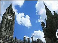 Manchester town hall clock tower