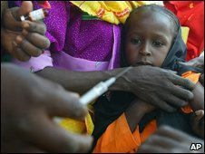 A child is vaccinated in Chad, 2004