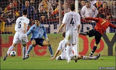 Spain ahead aginst England in Seville