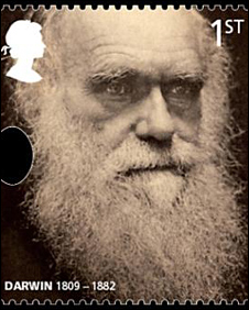 Stamp marking Darwin's birth
