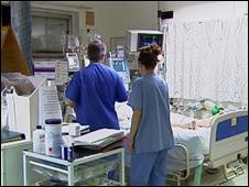 Nurses at hospital bedside