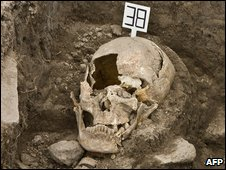 One of the skulls found at a 16th Century Aztec burial ground in Mexico City