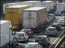 Lorries in traffic jam on M6, UK