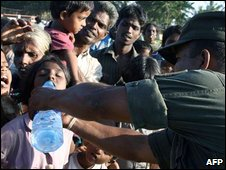 A government photo allegedly shows displaced Tamil civilians after escaping from rebel-held areas