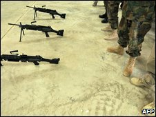 Afghan soldiers with US-issue automatic rifles