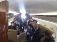 Mikhail Saakashvili on board the aeroplane