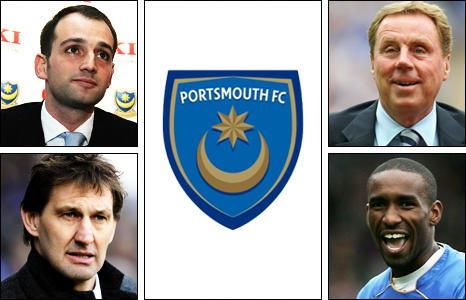 Clockwise from top left: Alexandre Gaydamak, Harry Redknapp, Jermain Defoe and Tony Adams