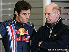 Red Bull driver Mark Webber and chief technical officer Adrian Newey