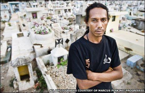 Julinho Ximenhes at Santa Cruz cemetery in Dili, East Timor.