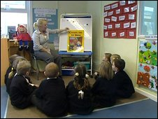 School children at Gaelscoil Eanna in Belfast listen to Goldilocks and the Three Bears in Iriish